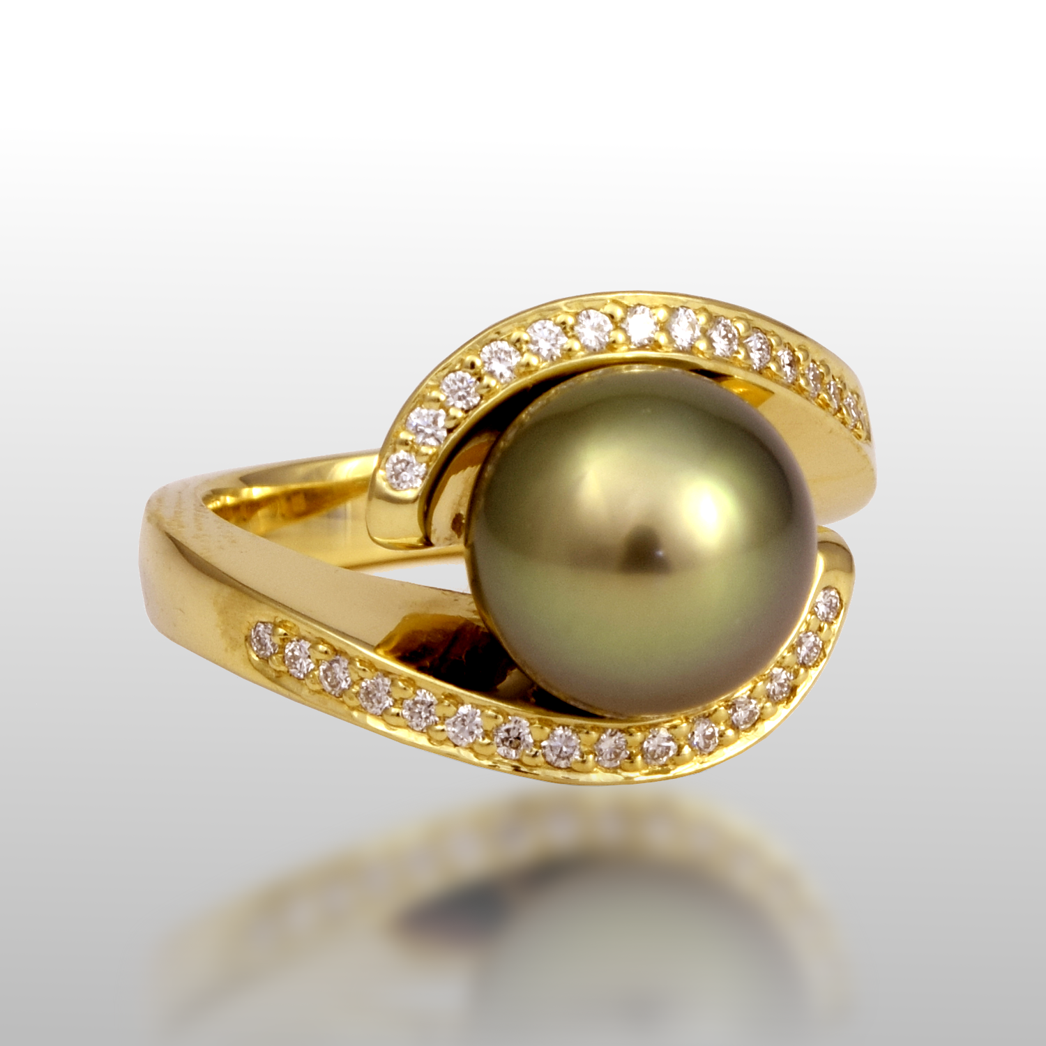 Tahitian South Sea Black 'Pearl Embrace' Ring in 18k Gold with Diamond Pavé by Pratima Design Fine Art Jewelry
