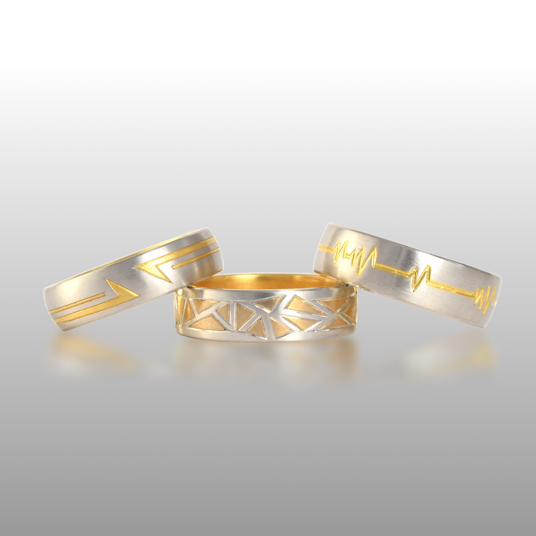 Men's Platinum & 22k Gold Wedding Bands 'Fusion' by Pratima Design Fine Art Jewelry