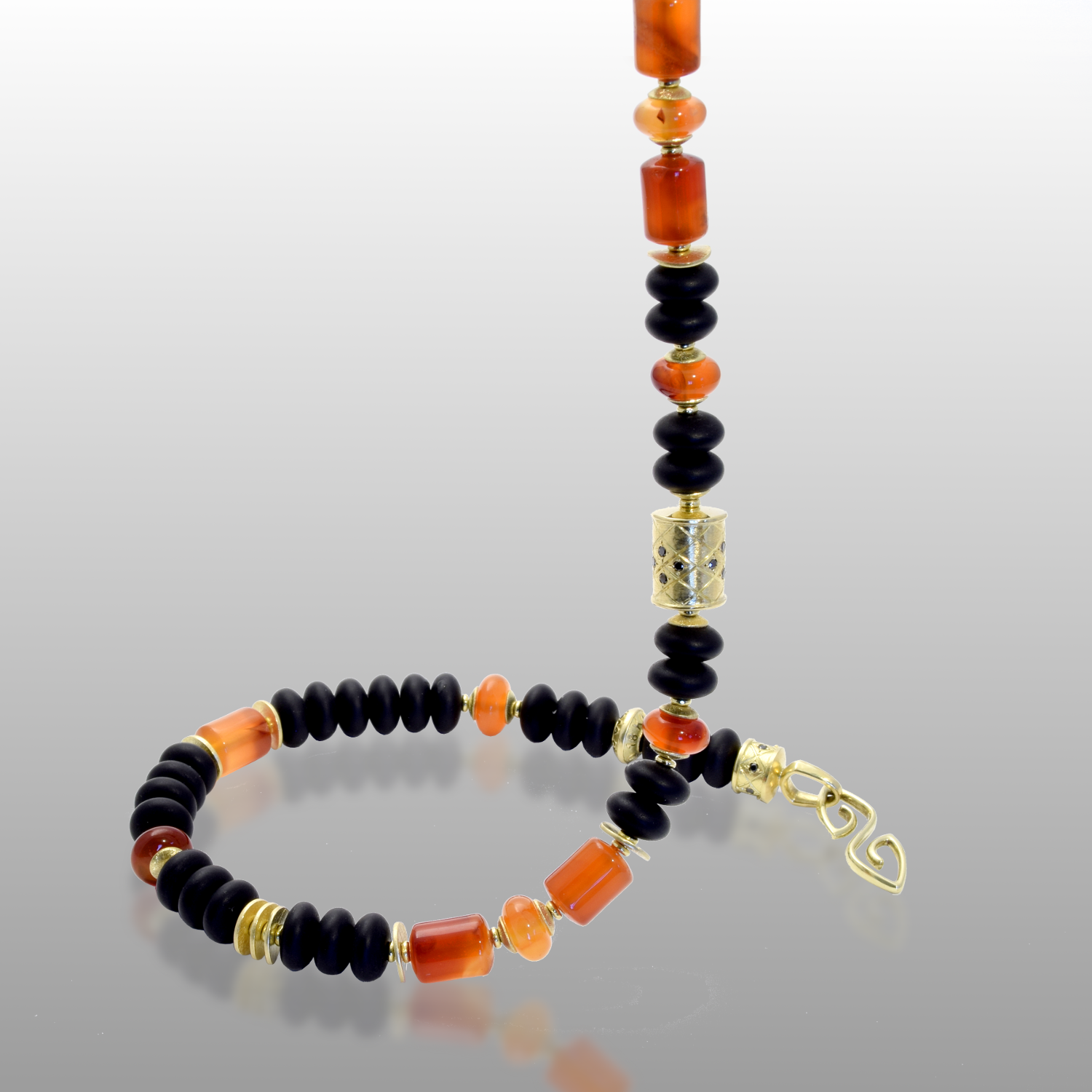 Necklace 'Hawaii' with 18k Gold, Carnelian and Onyx Beads, 18k Gold Signature Clasp with black Diamonds by Pratima Design Fine Art Jewelry
