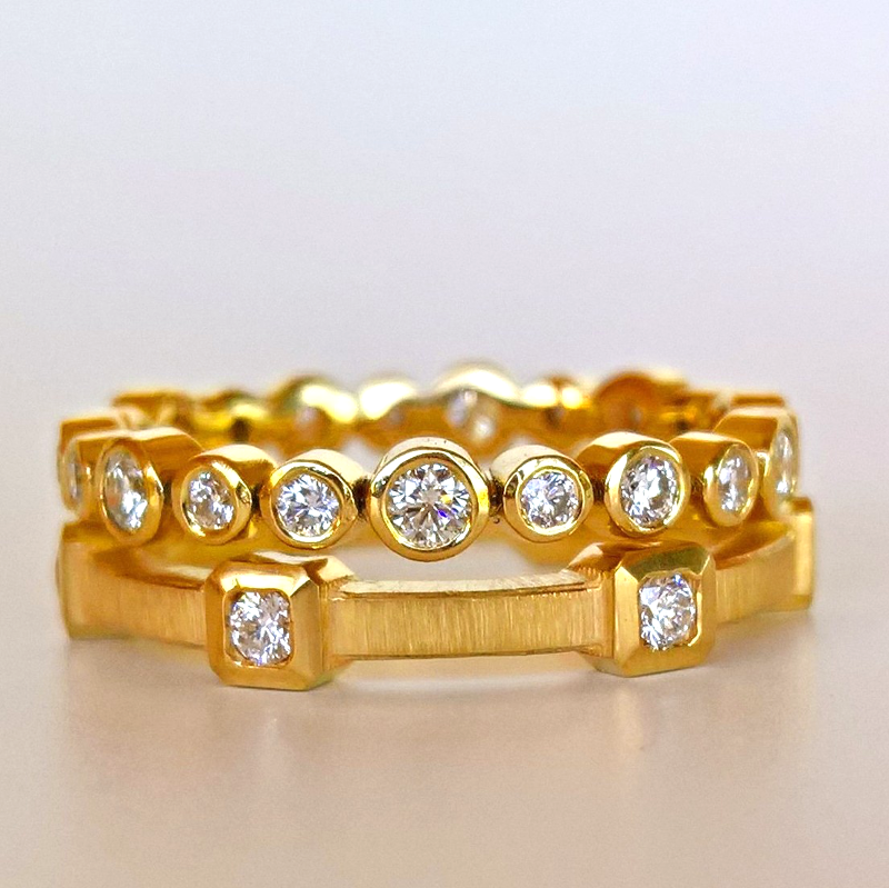 Collectible Diamond Eternity Bands in 22k and 18k Gold from the 'MOMENTI' Collection by Pratima Design Fine Art Jewelry