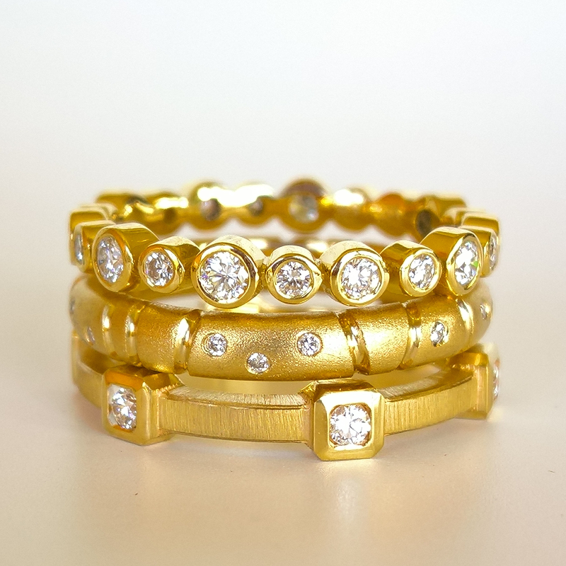 Collectible Diamond Eternity Bands in 22k or 18k Gold from the 'MOMENTI' Collection by Pratima Design Fine Art Jewelry