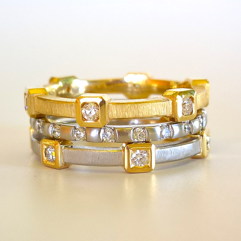 Stackable Diamond Eternity Bands in 22k Gold, 18k Gold and Platinum from the 'MOMENTI' Collection by Pratima Design Fine Art Jewelry