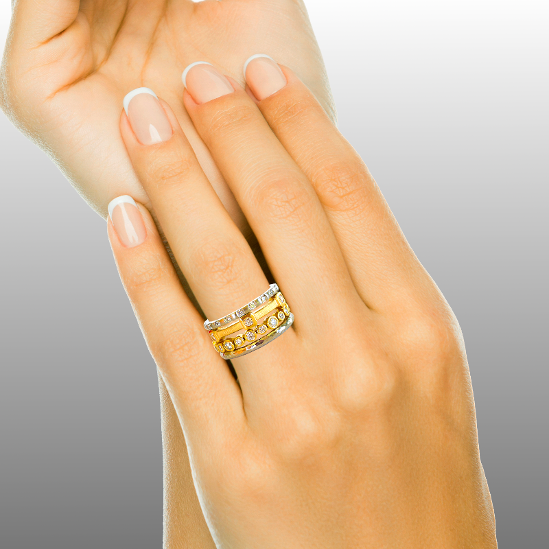 Collectible Stacking Rings with Diamonds in 22k Gold, 18k Gold and Platinum 'Momenti' by Pratima Design Fine Art Jewelry