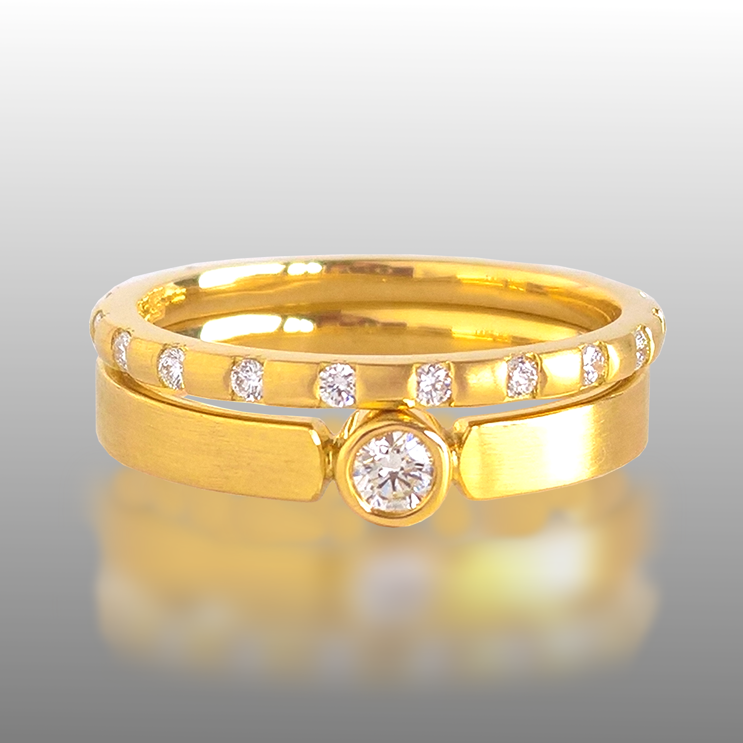 Wedding Set - Diamond Eternity Band 'Momenti' and Diamond Solitaire Band 'Timeless' by Pratima Design Fine Art Jewelry
