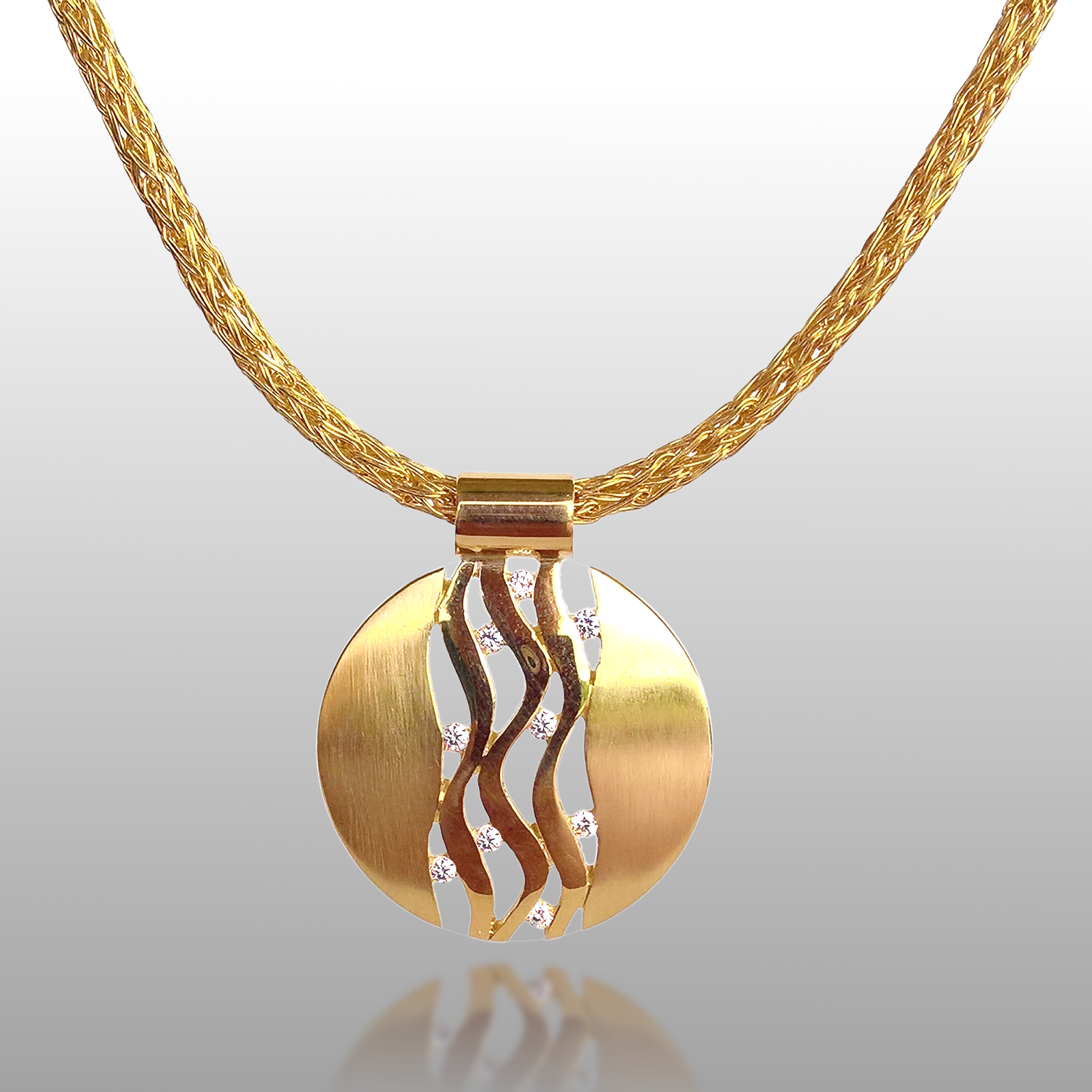 'Lamello' Wave Pendant in 18k Yellow, Rose or White Gold or Platinum with Diamonds by Pratima Design Fine Art Jewelry