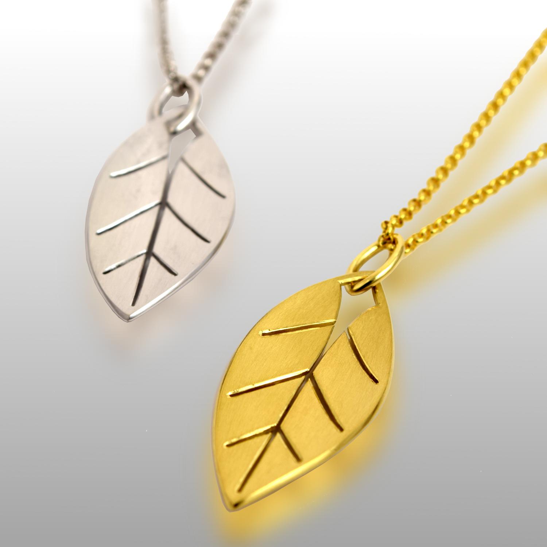 Maile Pendants in 18k Gold by Pratima Design Fine Art Jewelry