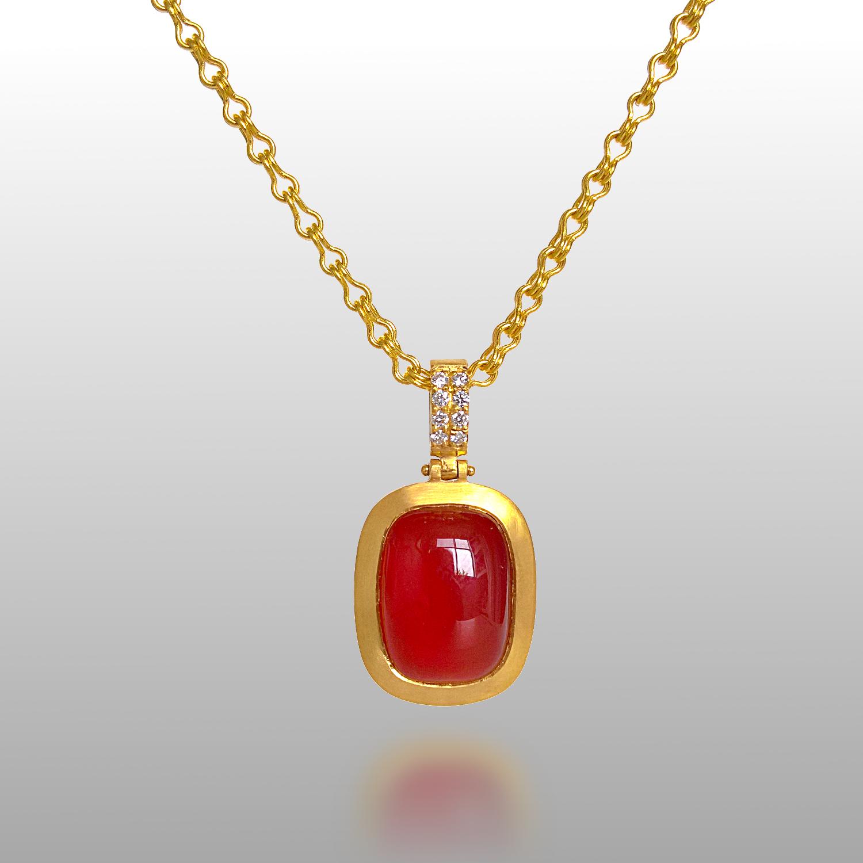 22k Gold Carnelian and Diamond Pendant on Hand Fabricated 22k Gold Chain by Pratima Design Fine Art Jewelry