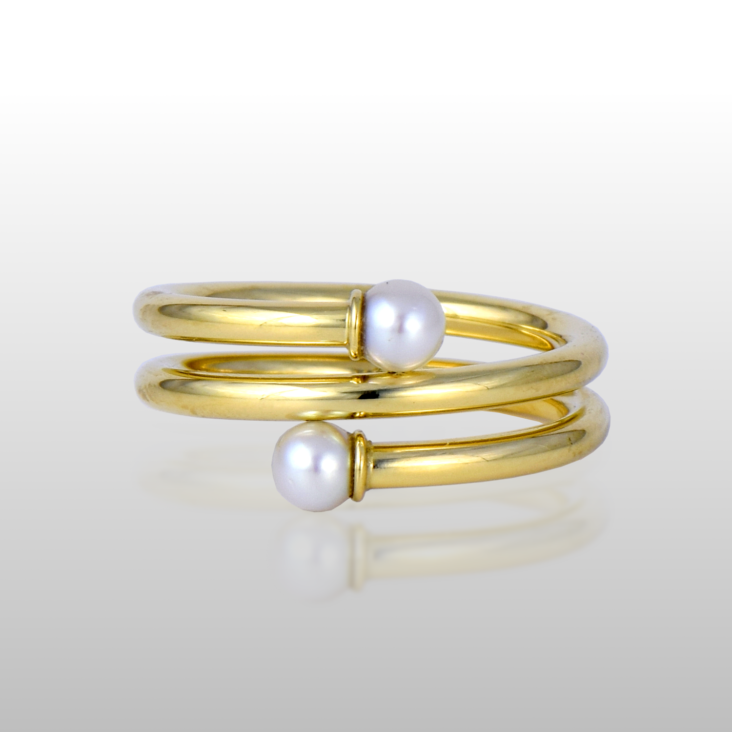 Small Spiral Ring in 18k Gold with Akoya Pearls by Pratima Design Fine Art Jewelry