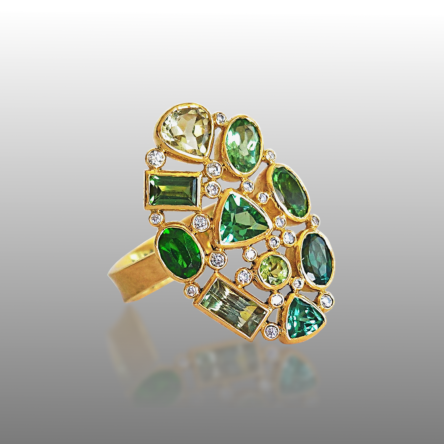 'Rainforest' Ring in 18k gold with Green Tourmalines and Diamonds from the KALEIDOSCOPE Collection by Pratima Design Fine Art Jewelry Maui