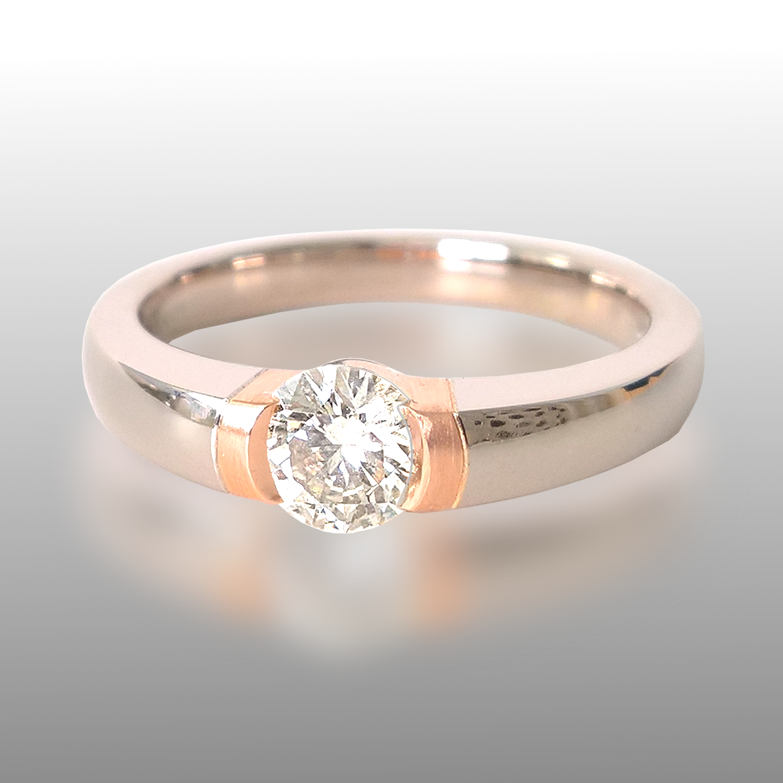Platinum Rose Gold Diamond Engagement Ring by Pratima Design Fine Art Jewelry Maui