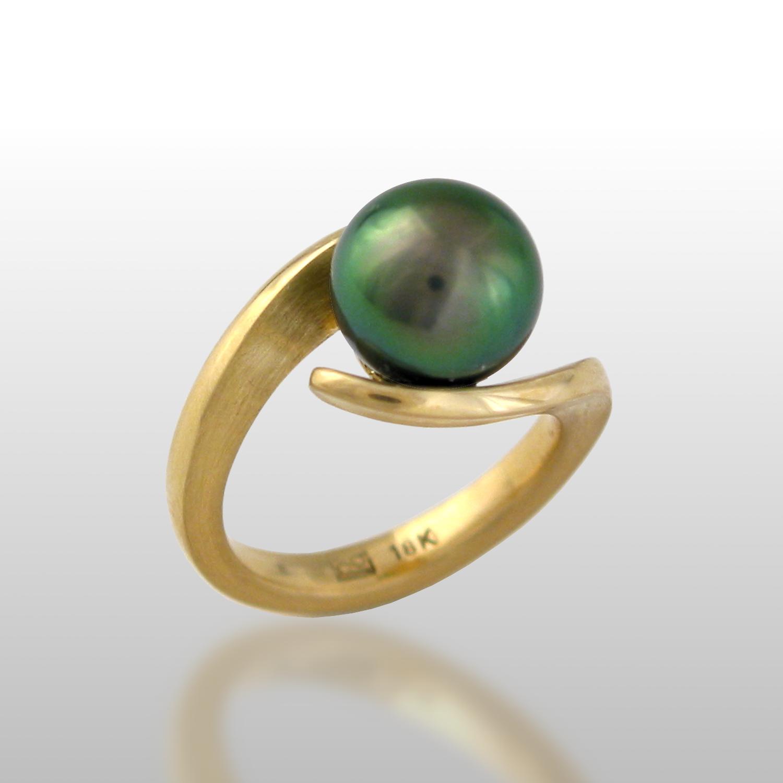 Tahitian South Sea Black 'Pearl Embrace' Ring in 18k Gold by Pratima Design Fine Art Jewelry