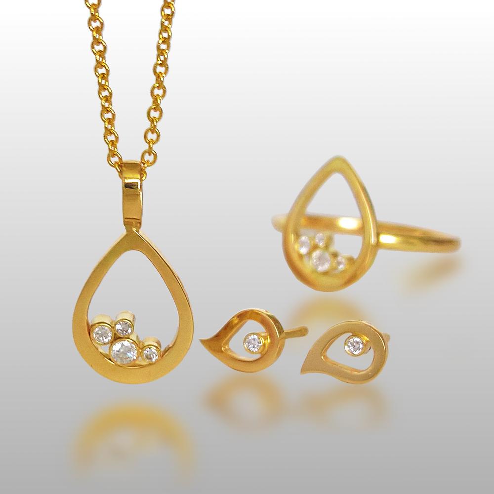 Diamond Cluster Teardrop Necklace, Ear Studs and Ring Set in 18k Gold by Pratima Design Fine Art Jewelry
