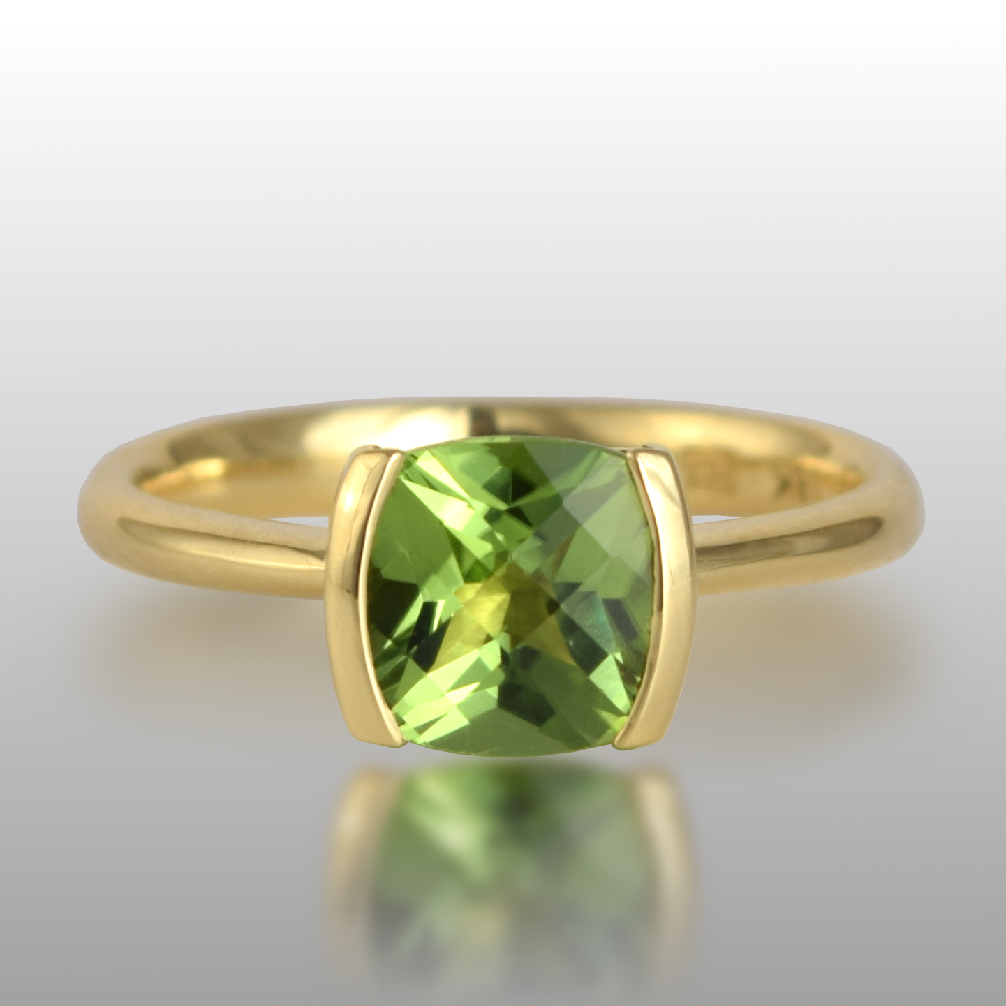 Contemporary Solitaire Ring with Square Cushion Cut Peridot in 18k Gold by Pratima Design Fine Art Jewelry