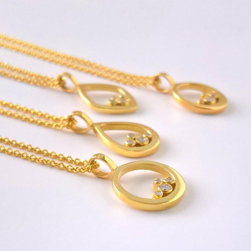 Diamond Cluster Pendants in 18k Gold by Pratima Design Fine Art Jewelry Maui