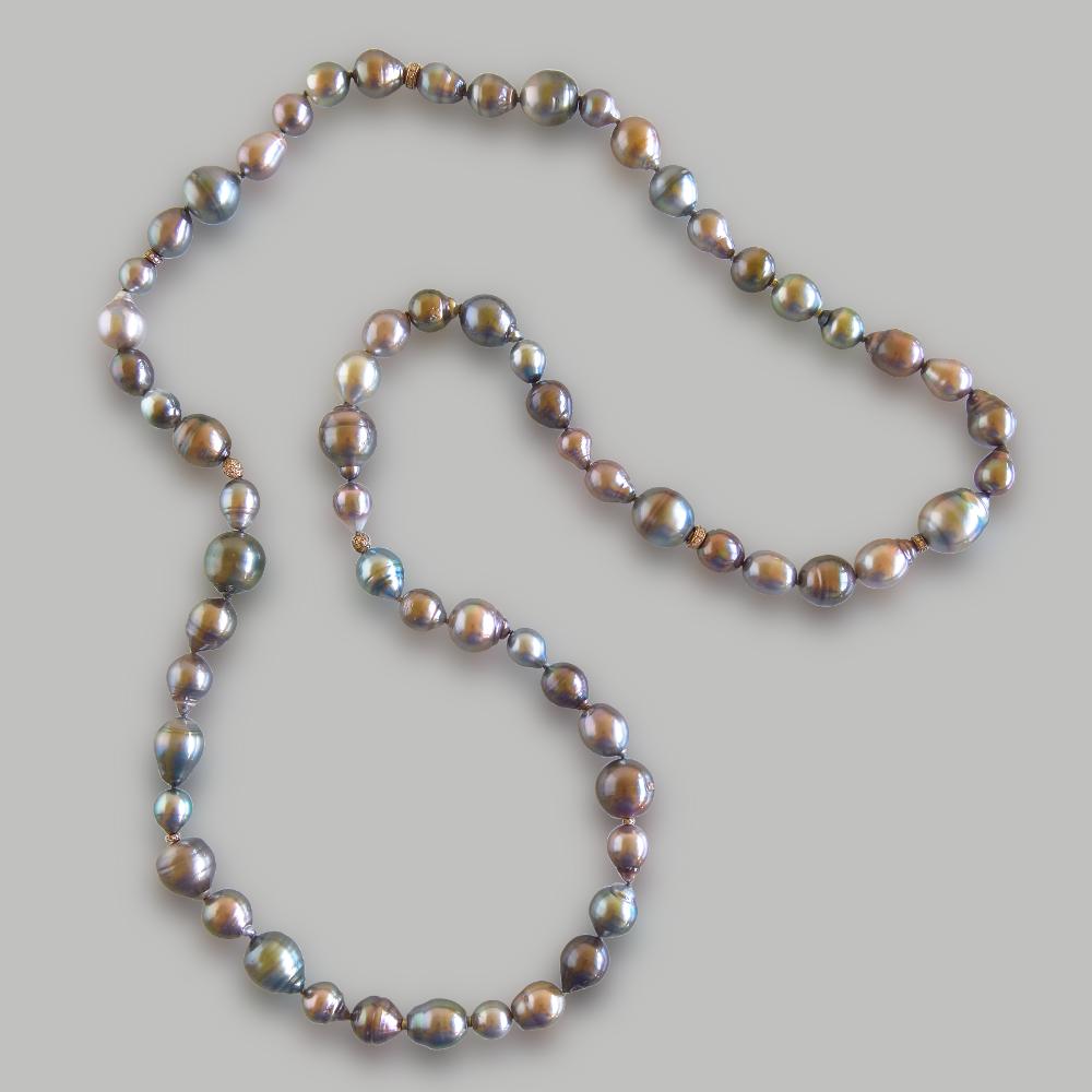 Opera Length Tahitian South Sea Pearl and Diamond Bead Necklace 'Autumn Dream' by Pratima Design Fine Art Jewelry Maui