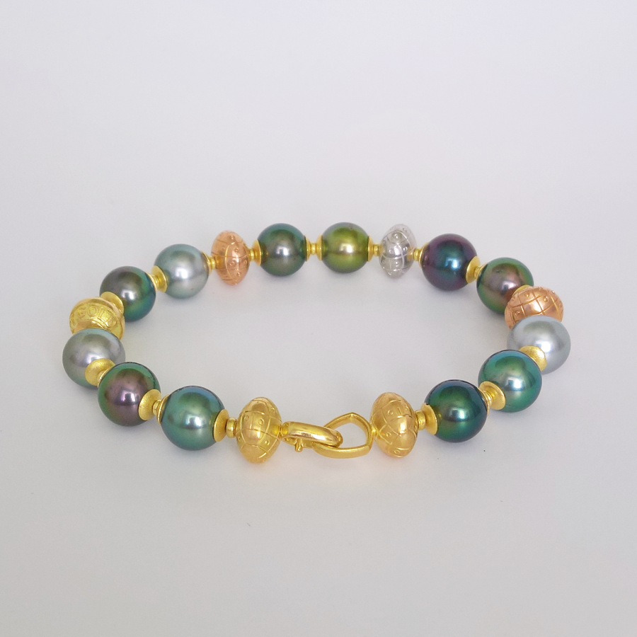 Multi-color Tahitian South Sea Pearl Bracelet with 18k Yellow, White and Rose Gold Hand Fabricated Beads by Pratima Design Fine Art Jewelry Maui
