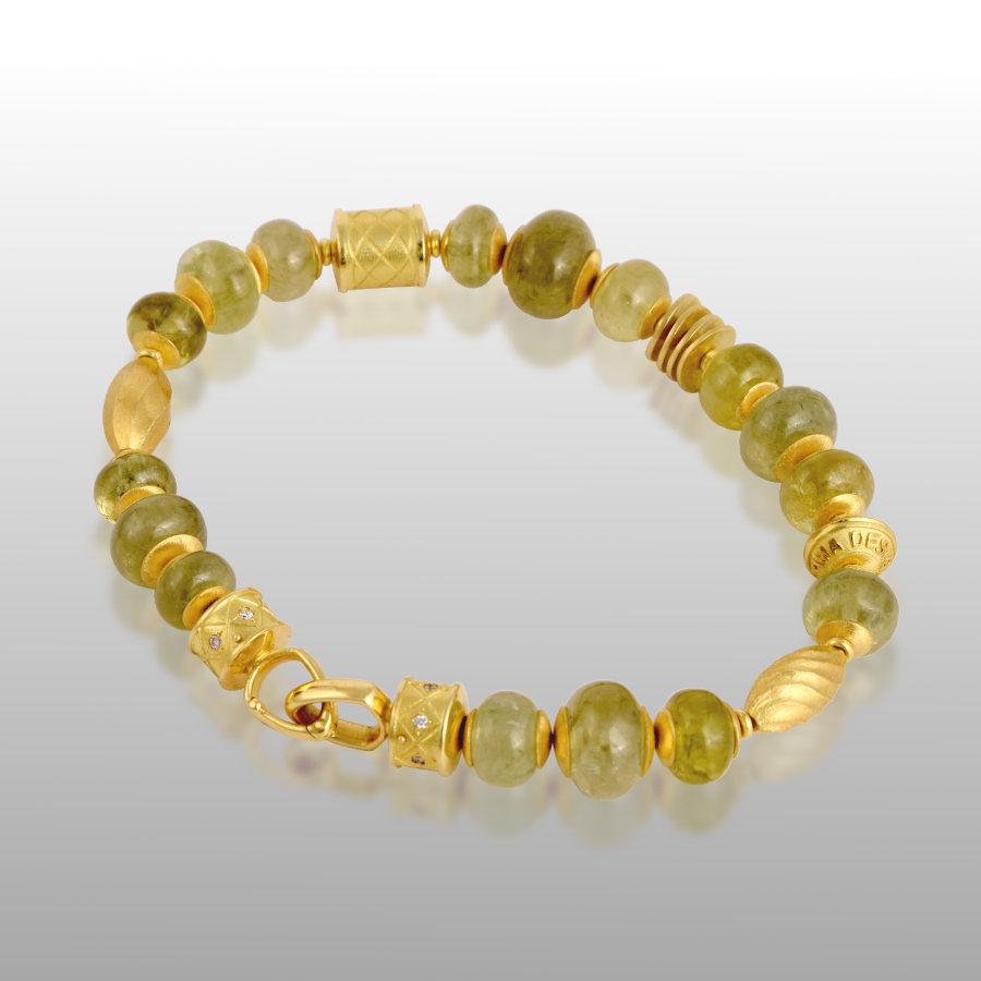 Bracelet with Grossular Garnet and 18k Gold Beads, 18k Gold Signature Clasp with Diamonds by Pratima Design Fine Art Jewelry Maui, Hawaii
