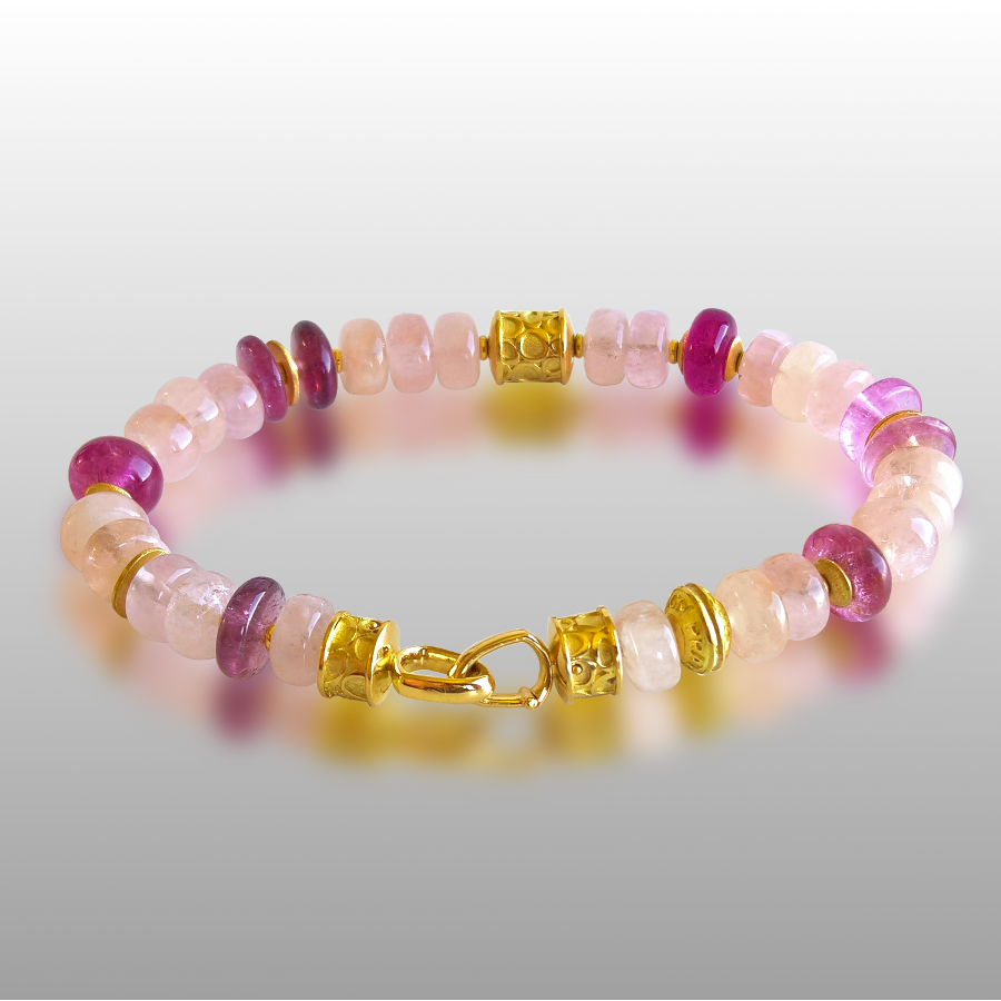 Bracelet with Pink Tourmaline, Morganite and 18k Gold Beads, 18k Gold Signature Clasp by Pratima Design Fine Art Jewelry Maui, Hawaii