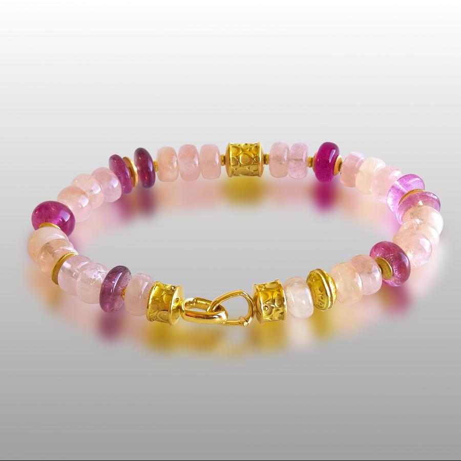 Bracelet with Pink Tourmaline, Morganite and 18k Gold Beads, 18k Gold Signature Clasp by Pratima Design Fine Art Jewelry Maui, Hawaii