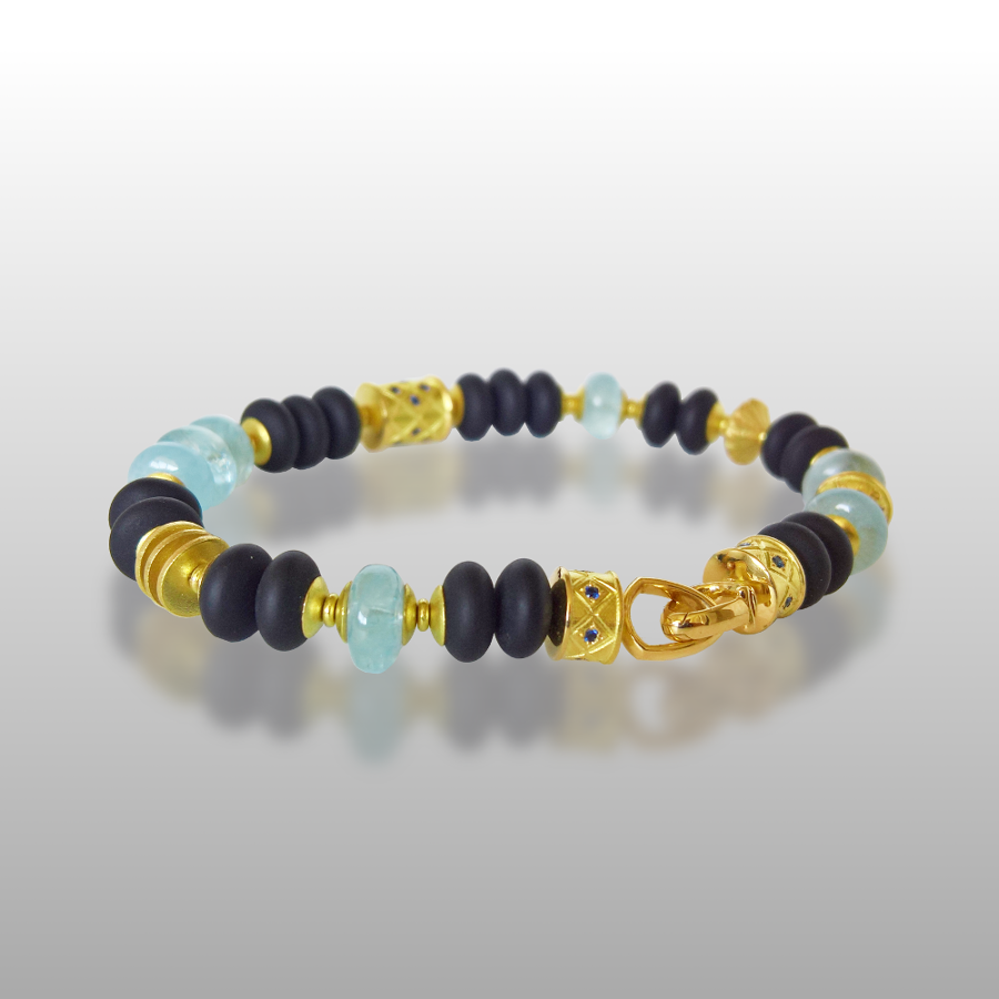 18k Gold, Aquamarine, Black Onyx and Blue Sapphire 'FIESTA' Bracelet by Pratima Design Fine Art Jewelry Maui, Hawaii