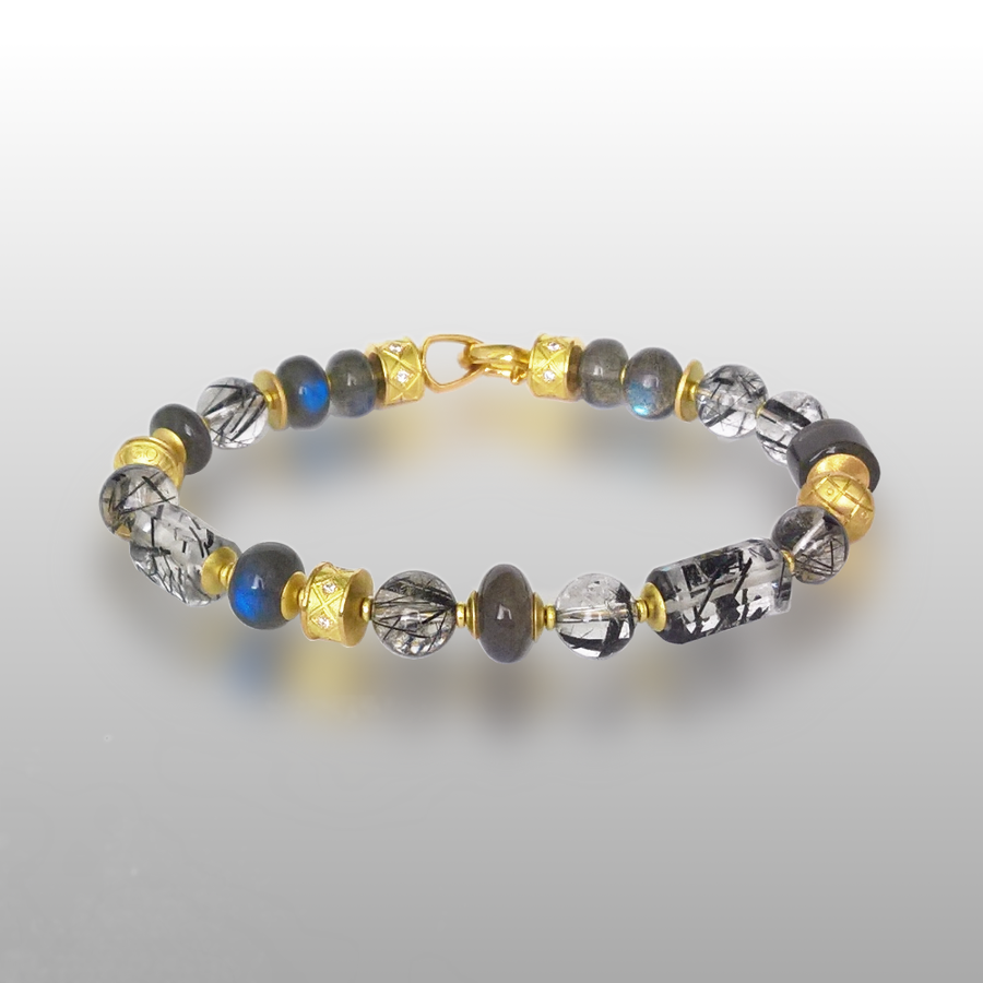 Bracelet with Black Rutilated Tourmaline Quartz and Spectrolite Beads, 18k Gold Elements and Clasp with Diamonds by Pratima Design Fine Art Jewelry Maui, Hawaii