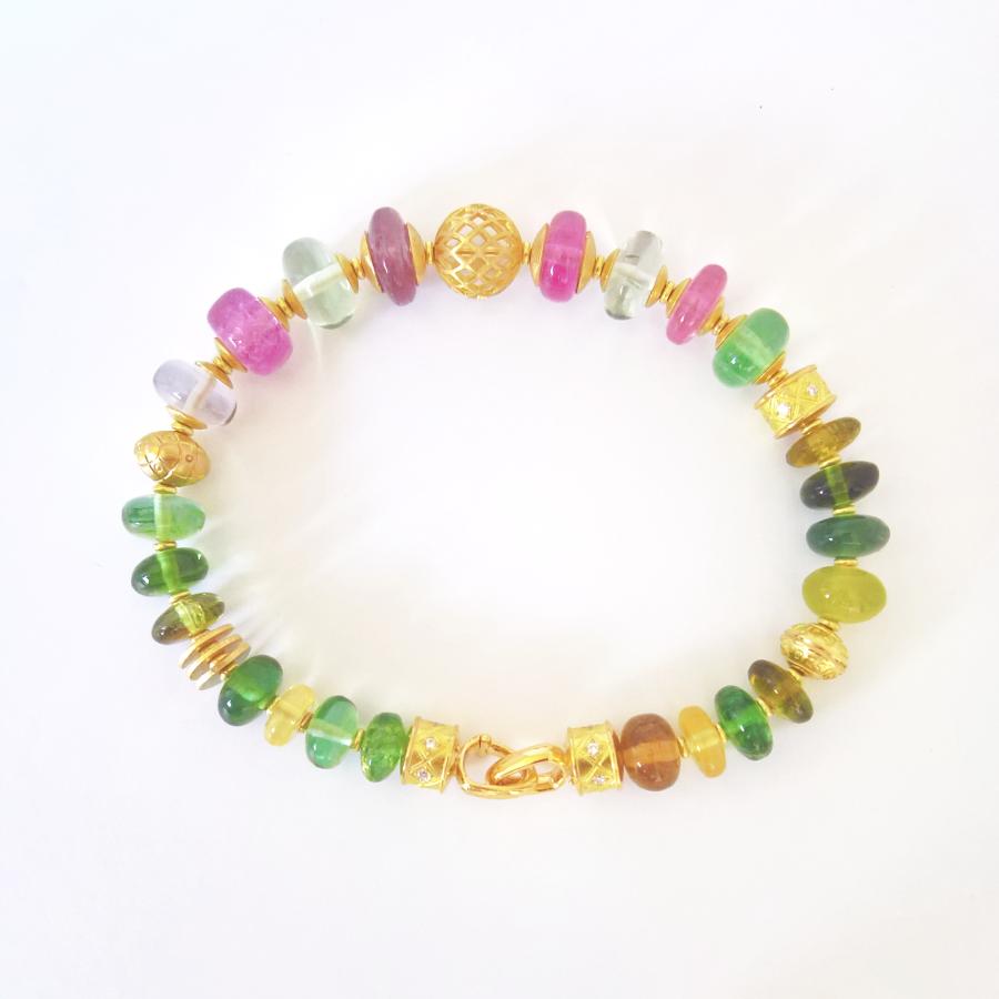 'FIESTA' bracelet multi-color tourmalines, diamonds, 18k gold by Pratima Design Fine Art Jewelry Maui, Hawaii