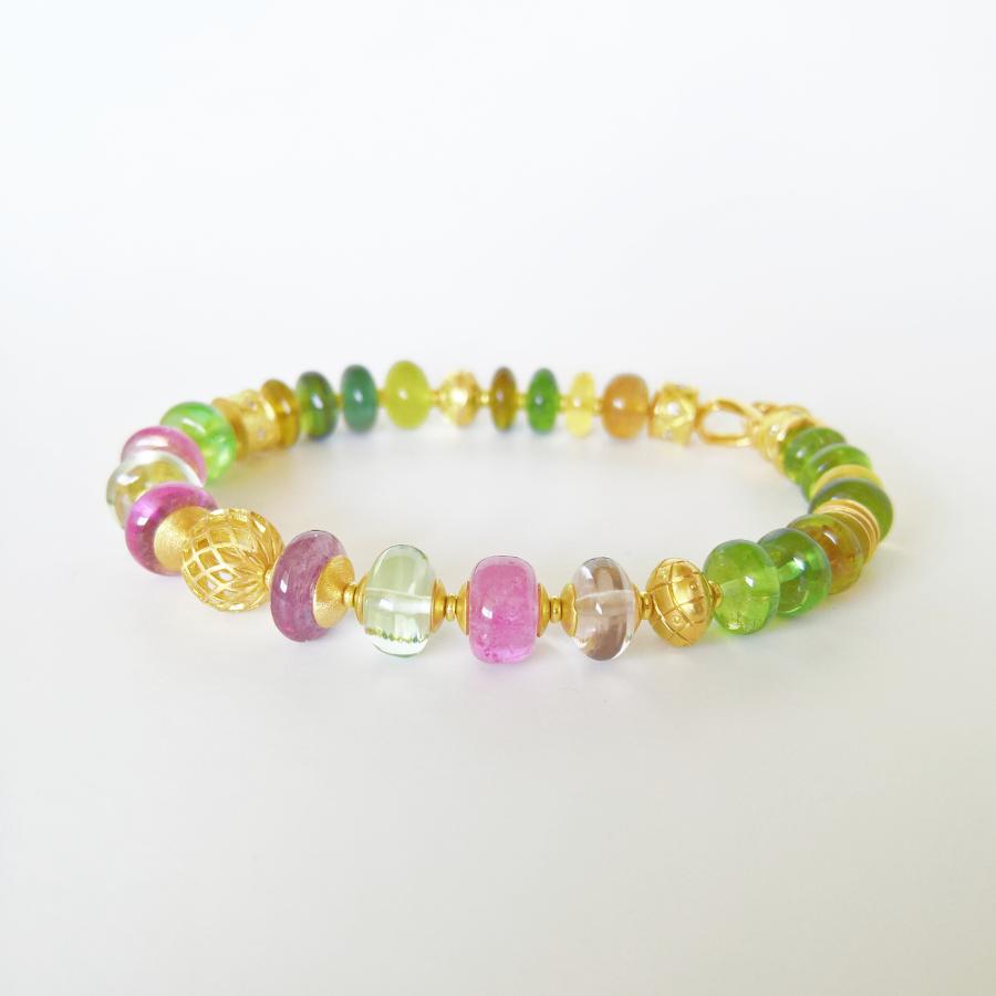 Bracelet 'FIESTA' multi-color tourmalines, diamonds, 18k gold by Pratima Design Fine Art Jewelry Maui, Hawaii