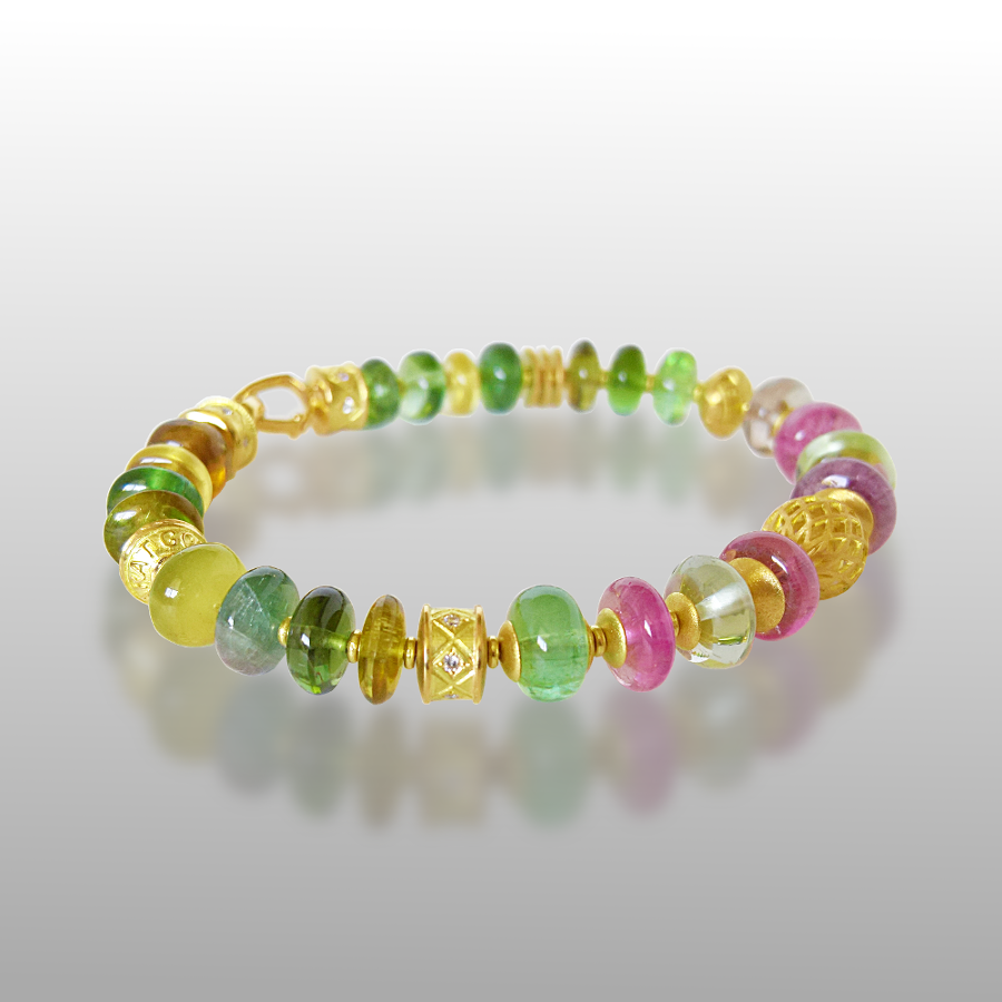 18k Gold, Multi Colored Tourmaline and Diamond 'FIESTA' Bracelet by Pratima Design Fine Art Jewelry Maui, Hawaii