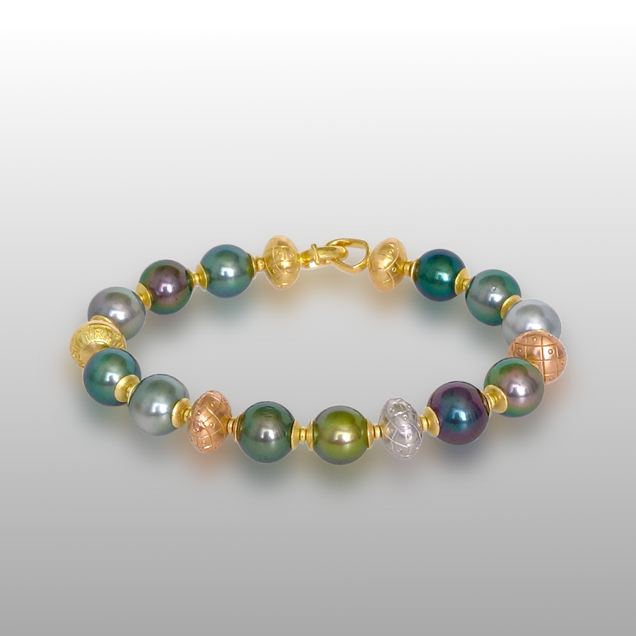 Multi-color Tahitian South Sea Pearl Bracelet with 18k Yellow, White and Rose Gold Hand Fabricated Beads by Pratima Design Fine Art Jewelry Maui, Hawaii
