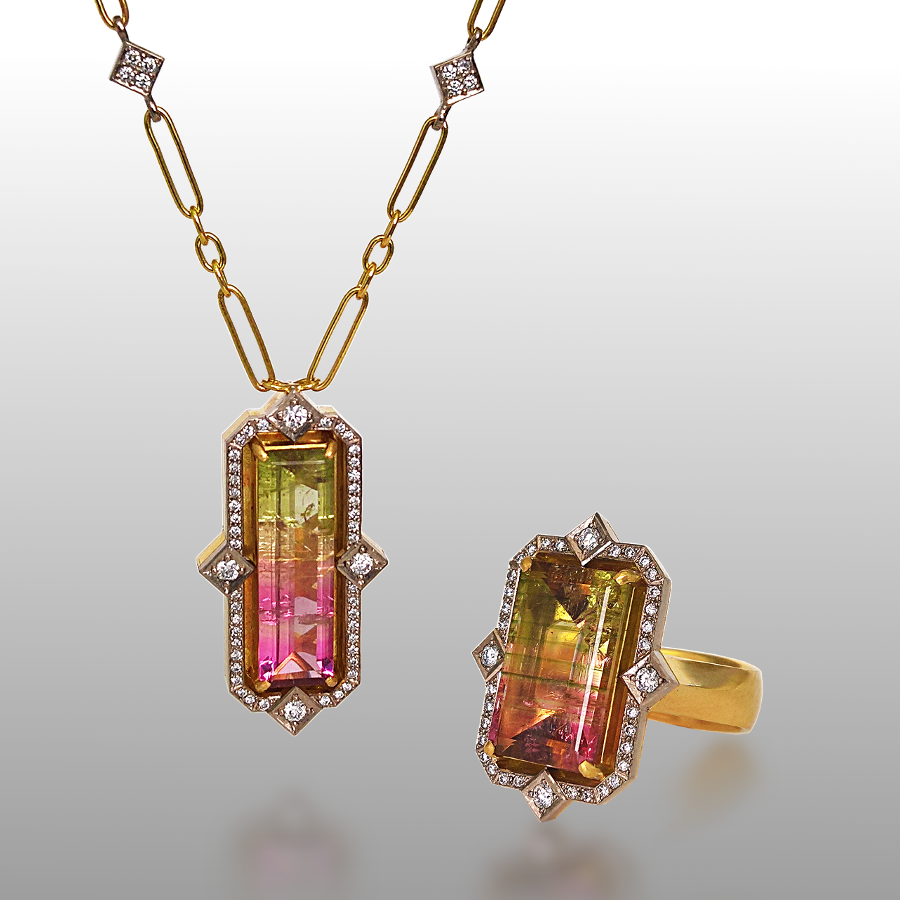 Art Deco Style Watermelon Tourmaline Diamond Ring and Necklace in 18k Gold by Pratima Design Fine Art Jewelry Maui, Hawaii
