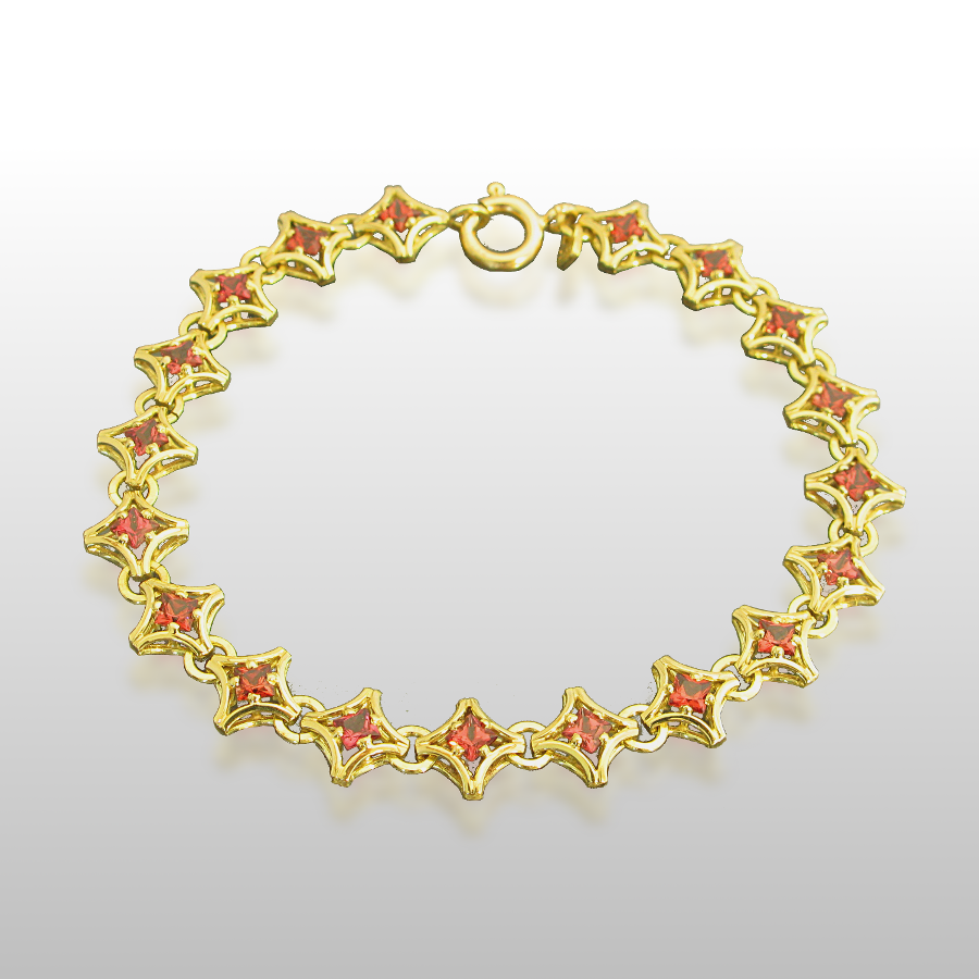 Link Bracelet in 18k Gold with Malayan Garnets by Pratima Design Fine Art Jewelry Maui, Hawaii