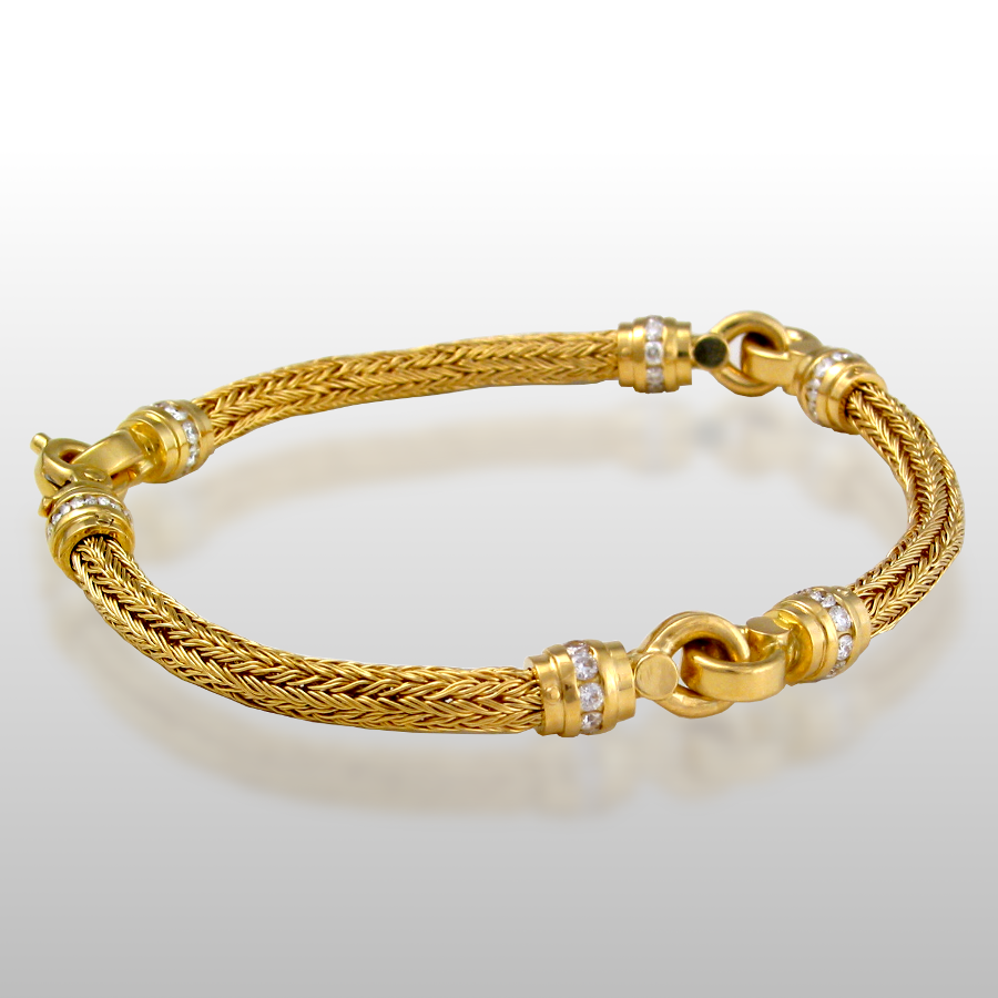 Bracelet Hand Woven in 18k Gold, 22k Gold or Platinum with Diamond Clasp and Elements by Pratima Design Fine Art Jewelry Maui, Hawaii