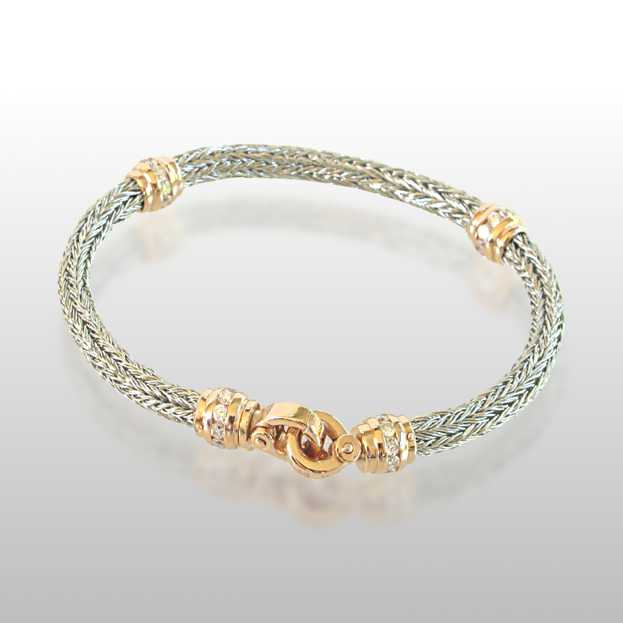 Bracelet Hand Woven in Platinum with Diamond Clasp and Slides in 18k Rose Gold by Pratima Design Fine Art Jewelry Maui, Hawaii