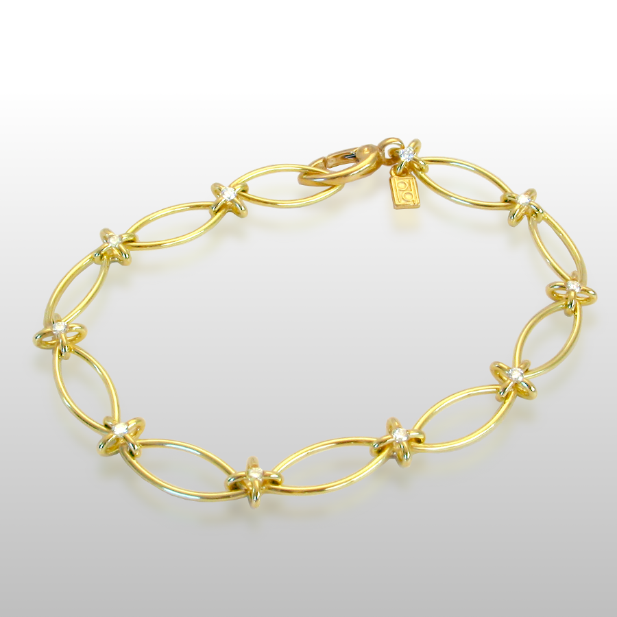Link Bracelet in 18k Gold with Diamonds by Pratima Design Fine Art Jewelry Maui, Hawaii