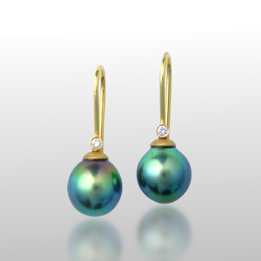 Tahitian South Sea Pearl Earrings in 18k gold with diamonds by Pratima Design Fine Art Jewelry Maui, Hawaii