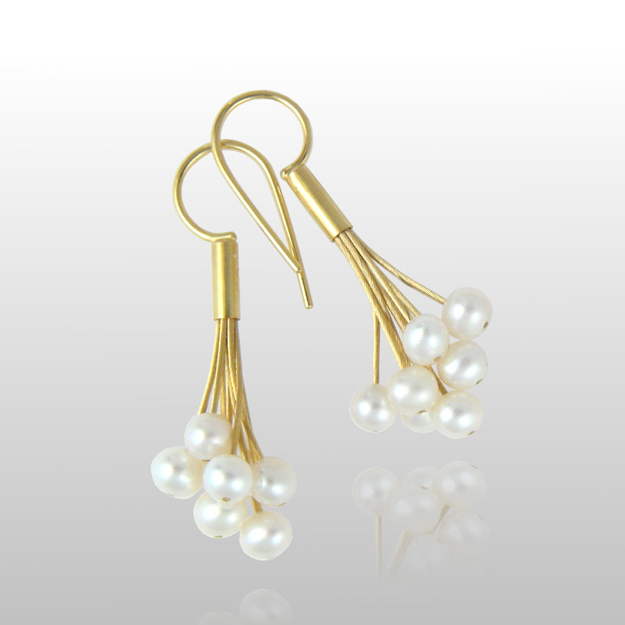 Contemporary Freshwater Pearl Earrings 'Confetti' in 18k Gold or Platinum by Pratima Design Fine Art Jewelry Maui, Hawaii