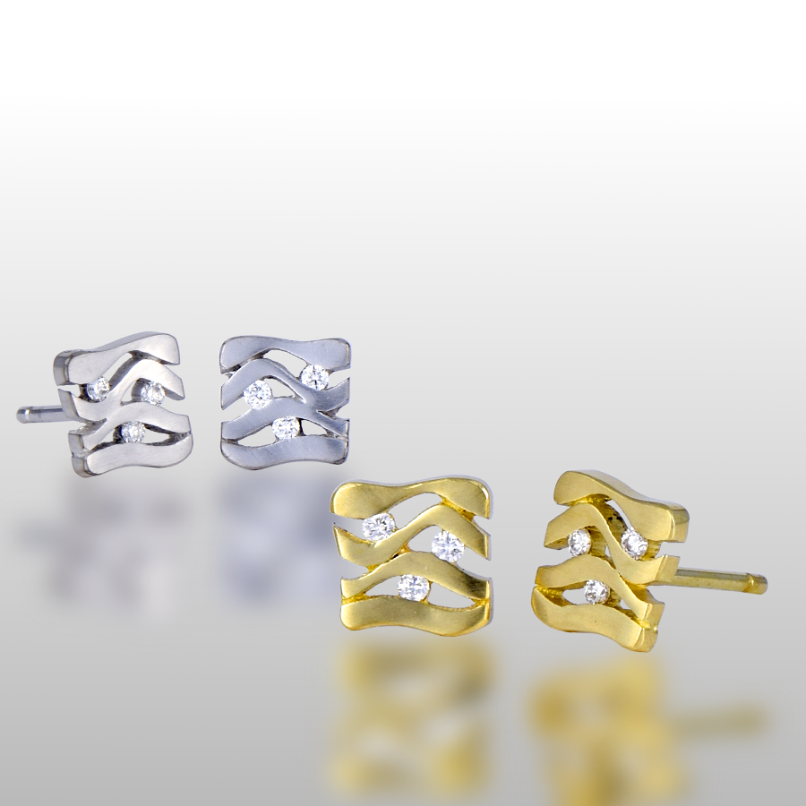 Earring Studs 'Lamello' in 18k Yellow, White or Rose Gold and Platinum with Diamonds by Pratima Design Fine Art Jewelry Maui, Hawaii