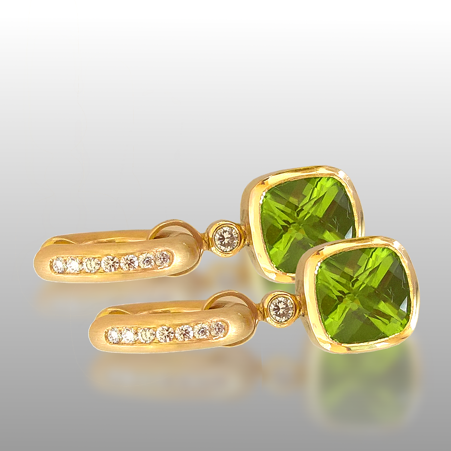 Peridot Earring Slides on Diamond Hinged Hoops in 18k Gold by Pratima Design Fine Art Jewelry Maui, Hawaii