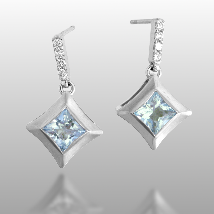 Aquamarine Diamond Earrings 'Karo' in 18k White Gold from the 'Spectrum' Collection by Pratima Design Fine Art Jewelry Maui, Hawaii