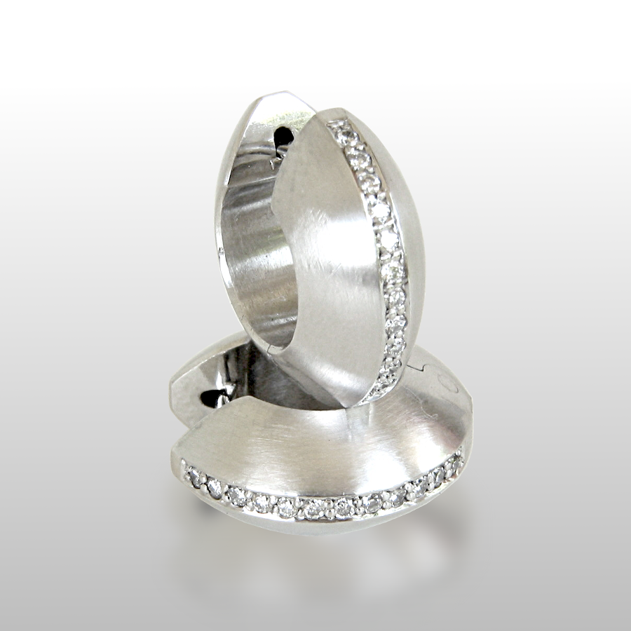 Platinum Diamond Pavé Hinged Hoops by Pratima Design Fine Art Jewelry Maui, Hawaii