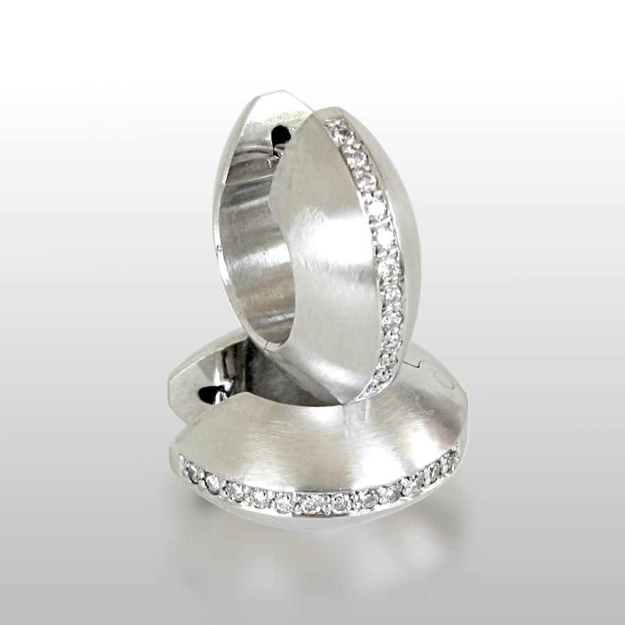 Platinum Diamond Pavé Hinged Hoops by Pratima Design Fine Art Jewelry Maui, Hawaii