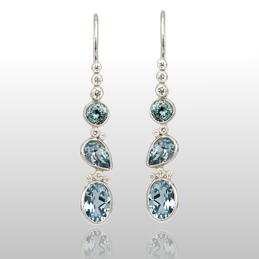 Contemporary Aquamarine Earrings 'Kaleidoscope' in 18k White Gold with Diamonds by Pratima Design Fine Art Jewelry Maui, Hawaii