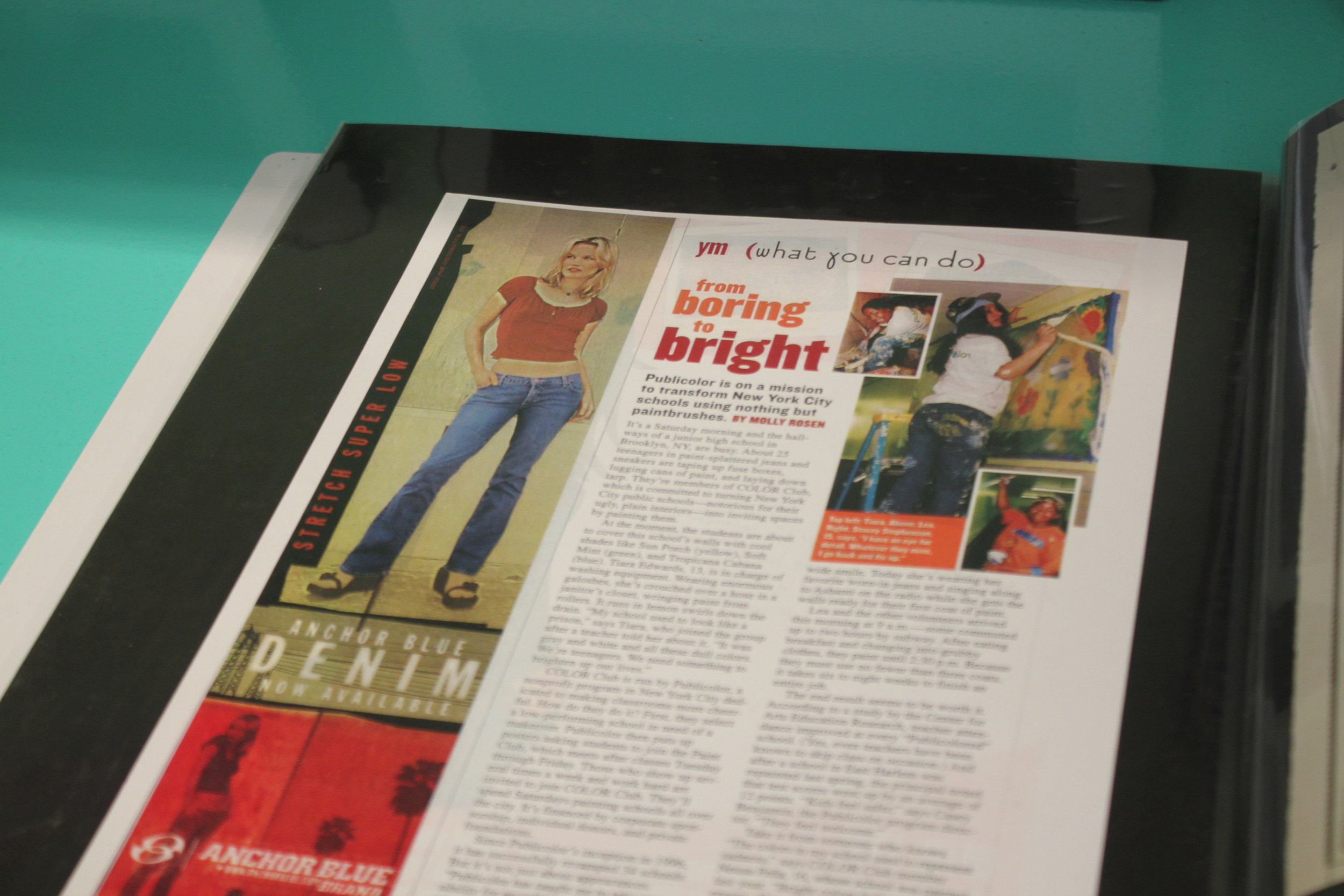 """From Boring to Bright"" in YM magazine. My first introduction to Publicolor, spotted in a book of press clippings."