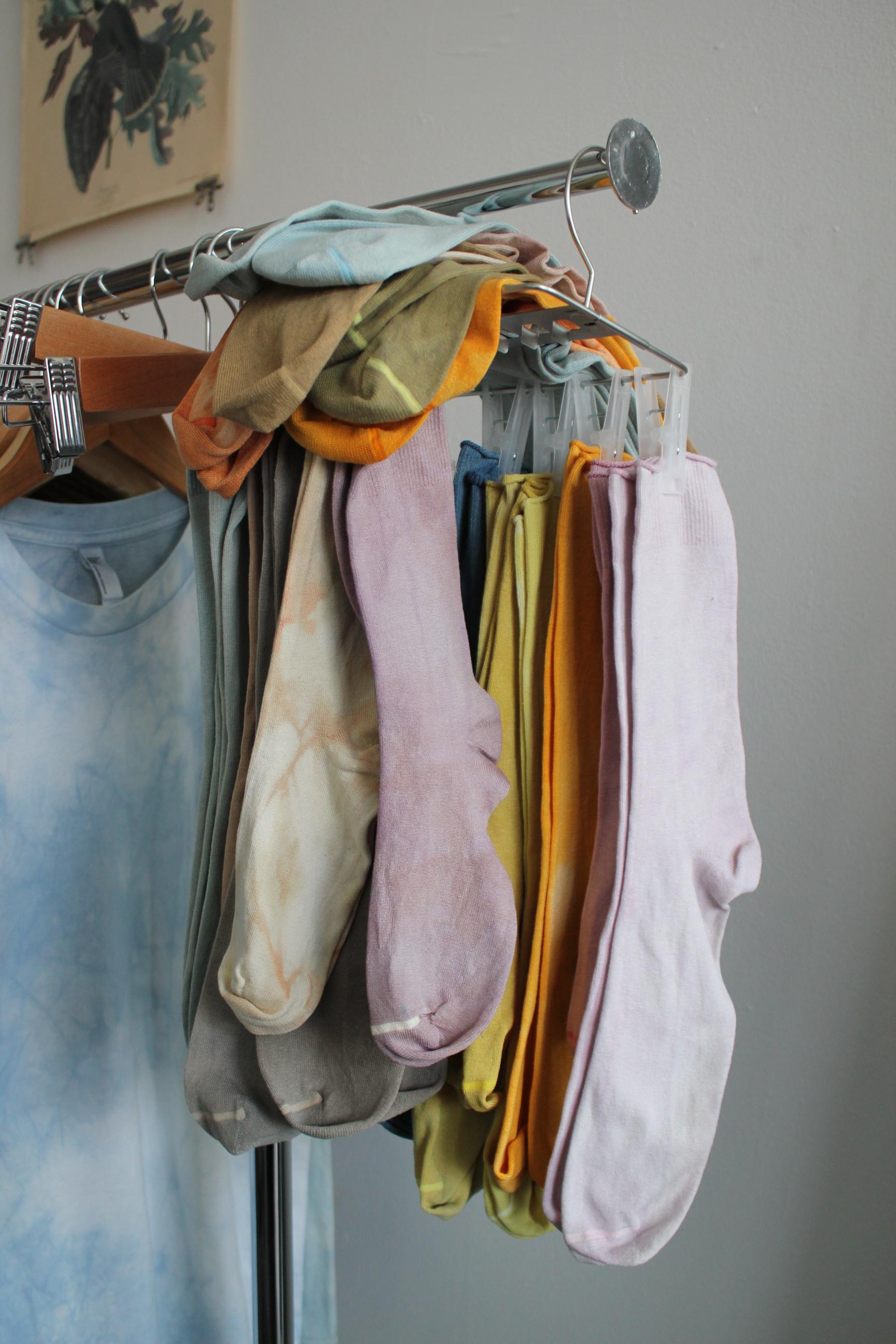 Silk socks for sale in the studio.