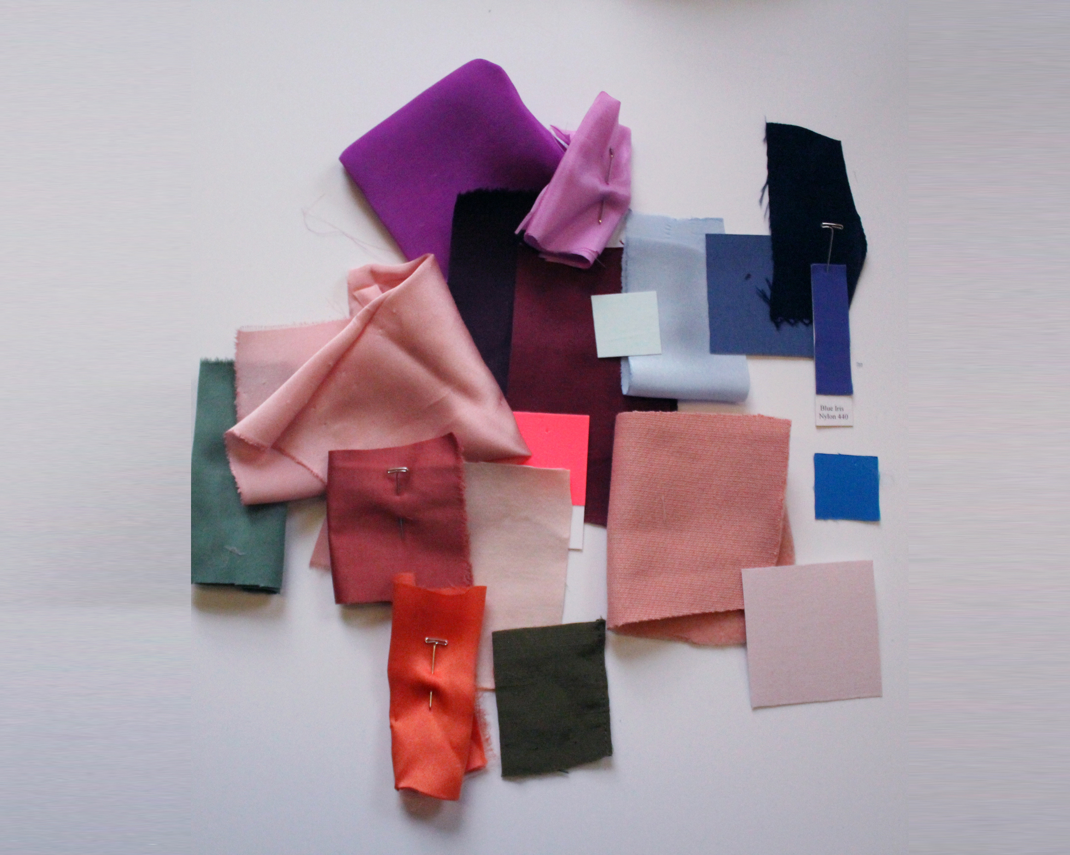 It's part of Jenn's job to play around with color - here are some swatches she arranged.