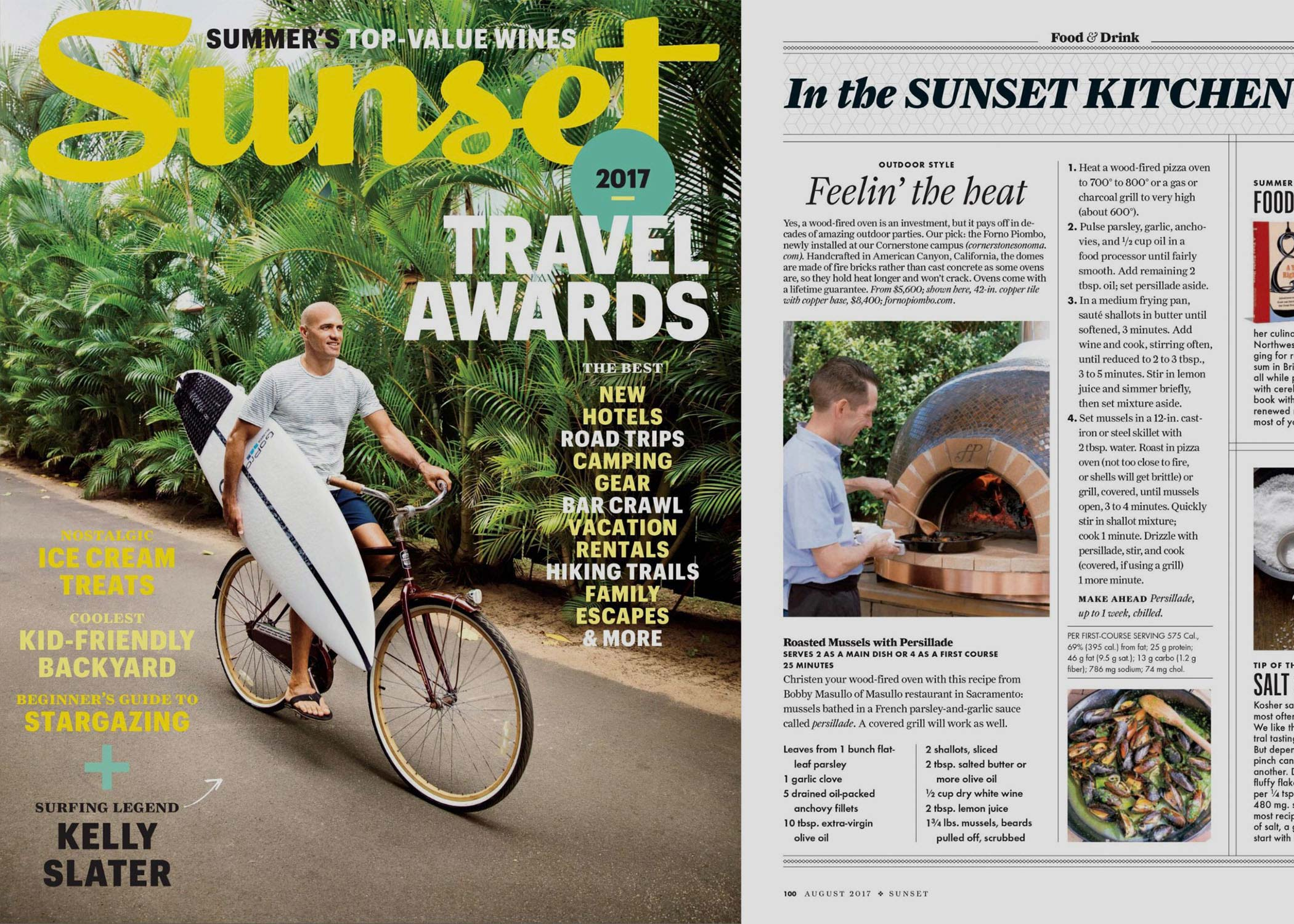 Cover of Sunset Magazine and article about Forno Piombo pizza ovens