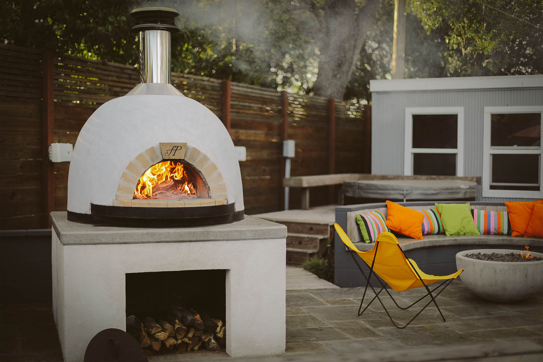 Forno Piombo wood fired oven in Walnut Creek backyard