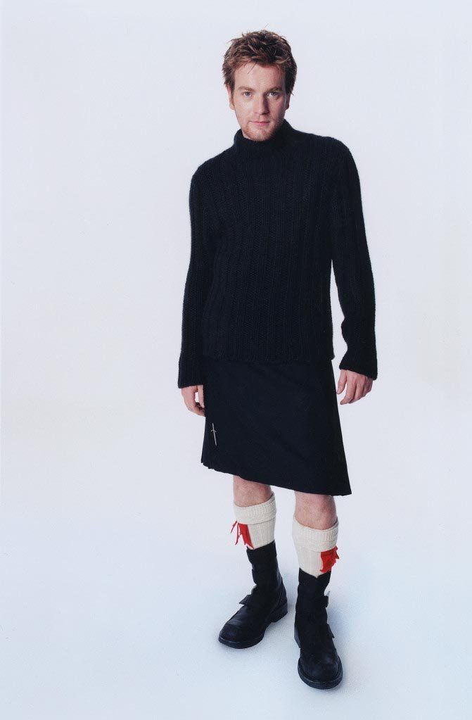 Ewan McGregor, who is never shy from wearing a kilt. Even wore one to receive his OBE fromthe Queen.