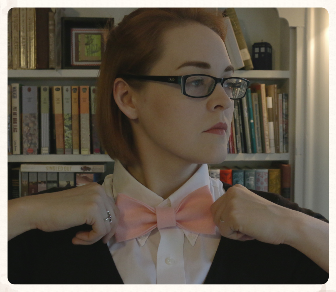 Making sure my bow tie is straight