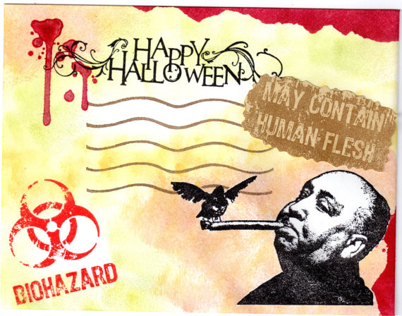Hitchcock Halloween Mail Art Envelope & Card! by PaperMoonPalace